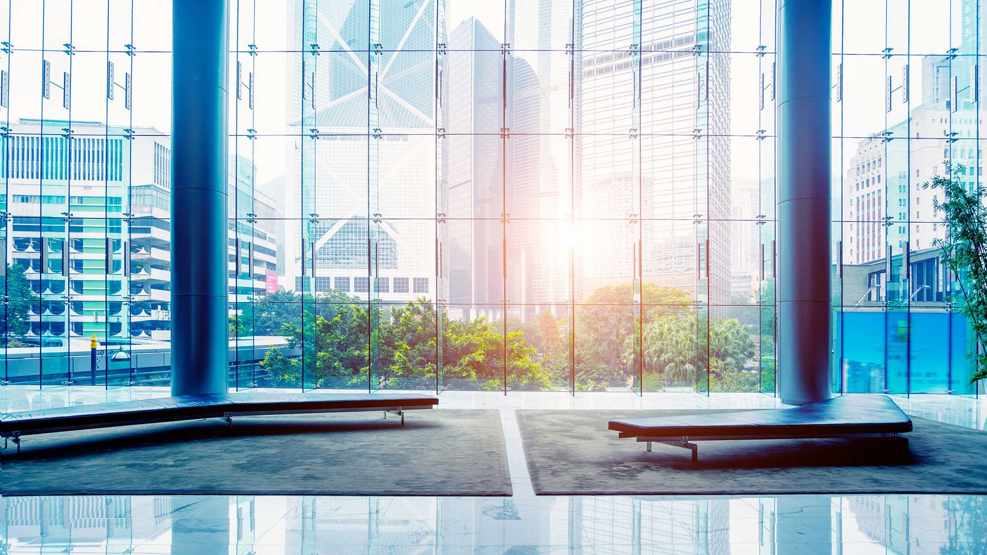 office building lounge with windows