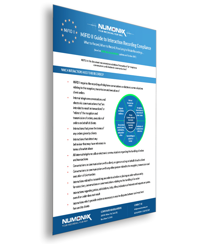 MiFID II Numonix recording information sheet